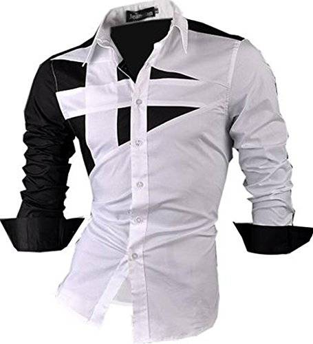 jeansian Uomo Camicie Maniche Lunghe Moda Men Shirts Slim Fit Casual Long Sleves Fashion 8397 White M