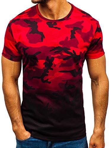 BOLF T-Shirt  Maglietta  Ombreggiata  Estiva  Stampa  Cotone  di Moda  da Uomo J.Style S808 Rossa L [3C3]