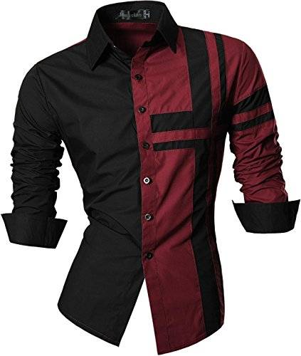 jeansian Uomo Camicie Maniche Lunghe Moda Men Shirts Slim Fit Casual Long Sleves Fashion Z014 Winered XXL