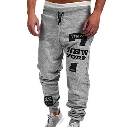 Hiroo Uomo Moda Pantaloni Uomini Pantaloni Pantaloni casual pantaloni della tuta (XXXL, Grigio)