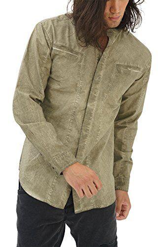 trueprodigy Casuale Uomo Camicia Uni Semplice Abbigliamento Urban Moda Colletto Alto Manica Lunga Slim Fit Classic Shirt Moda Vestiti, Colori:Khaki, Dimensione:S