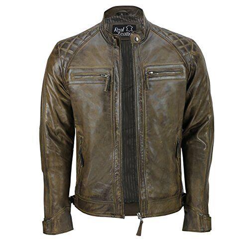 Xposed - Giacca da uomo con cerniera, in vera pelle morbida, stile motociclista, vintage, alla moda, casual, colore: nero Marrone 2XL