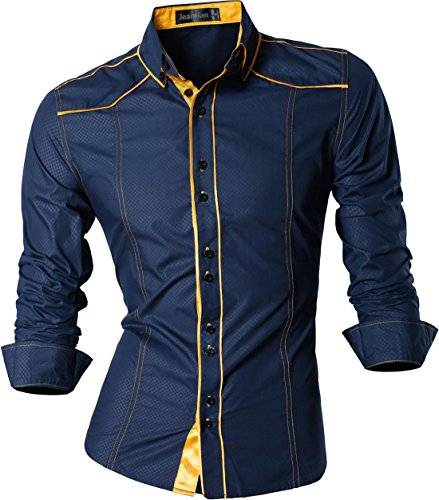 jeansian Uomo Camicie Maniche Lunghe Moda Men Shirts Slim Fit Casual Long Sleves Fashion Z034 Navy L