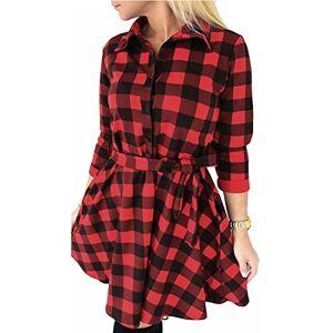 ed9e6346d046 Abbigliamento Donna FANCYINN T-Shirt Manica Lunga Scozzese a Maniche Lunghe  Camicia Tops Camicia Casual