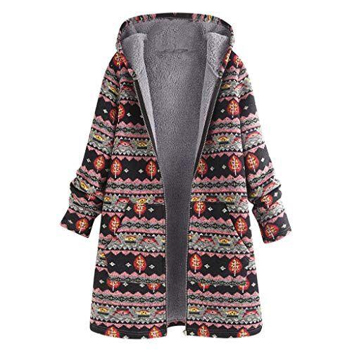 wudube cappotti oversize vintage da donna con stampa floreale e tasche con cappuccio (rosa, x-large)