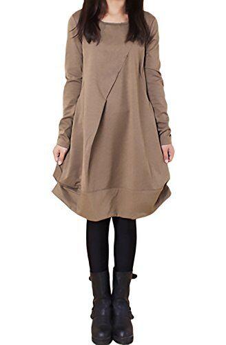 BOLAWOO Vestiti Donna Eleganti Autunno Invernali Manica Lunga Rotondo Collo Casual Larghi Tinta Unita Hippie Moda Irregolare Al Ginocchio Maglietta Abito Vestito Da Giorno