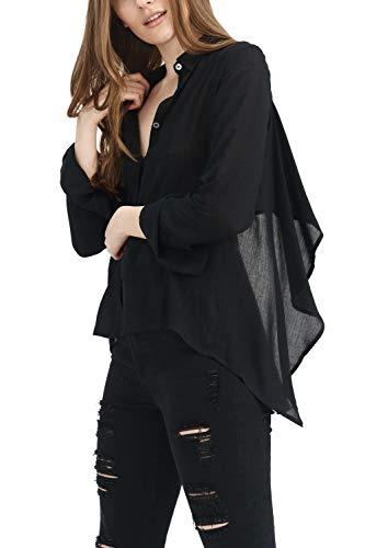 trueprodigy Casuale Donna Camicetta Uni Semplice Abbigliamento Urban Moda Collare Kent Manica Lunga Slim Fit Classic Blusa Moda Vestiti, Dimensione:M, Colori:Black