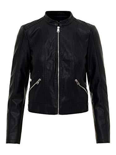 Vero Moda Vmkhloe Favo Faux Leather Jacket Noos Giacca, Nero (Black), 44 (Taglia Produttore: Medium) Donna