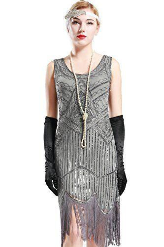 BABEYOND, abito da donna, in stile flapper, moda anni 20, stile Art Deco, decorato con frange e paillettes, per feste in maschera e serate, stile vintage Grande Gatsby Grigio. XL