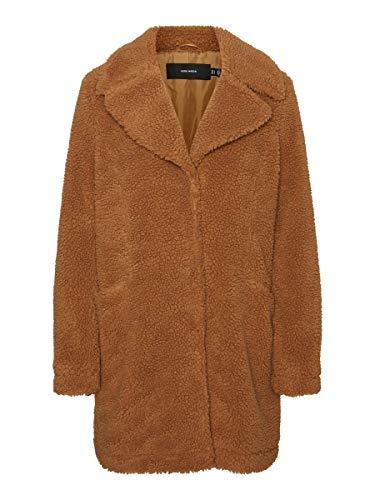 Vero Moda VMDONNA Teddy 3/4 Jacket Boos GA Cappotto, Marrone - Tobacco Brown, S Donna