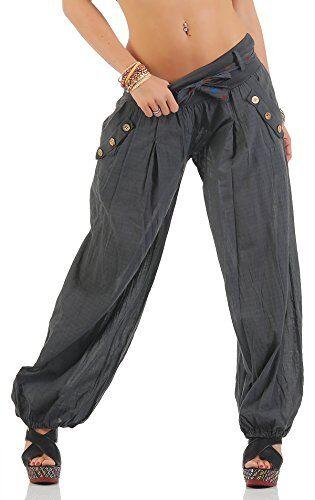 Moda Italy ZARMEXX Pantaloni Harem con cintura Pantaloni a sbuffo Colori Uni Pantaloni a palloncino Pantaloni alla turca Harem Pantaloncini Estivi Yoga taglia unica - Antracite, Einheitsgre