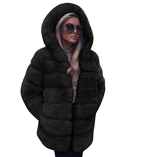 Rawdah- Giubbotto Donna Invernale Abbigliamento specifico Moda Faux Pelliccia Cappotto Cappuccio Autunno Inverno Caldo Cappotto Nero Small