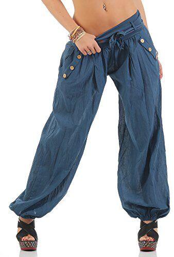 Moda Italy Pantaloni Harem con cintura Pantaloni a sbuffo Colori Uni Pantaloni a palloncino Pantaloni alla turca Harem Pantaloncini Estivi Yoga taglia unica