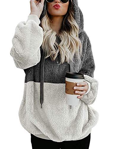 Romanstii Felpe Ragazza Moda Donna Manica Lunga Felpa con Cappuccio Casual Top Camicetta Hoodie Donna Sweatshirt Elegante Cappotto Maglione Casuale