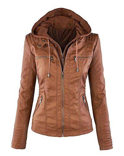 zhuikun donna giacche giacca in pelle manica lunga zip moto giubbotto cappotti con cappuccio marrone 2xl