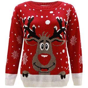 TOP VENDOR Maglione lavorato a maglia, con motivo di Rudolf, la renna di Natale, per bambini e bambine dai 2ai14 anni Red 5-6 Anni