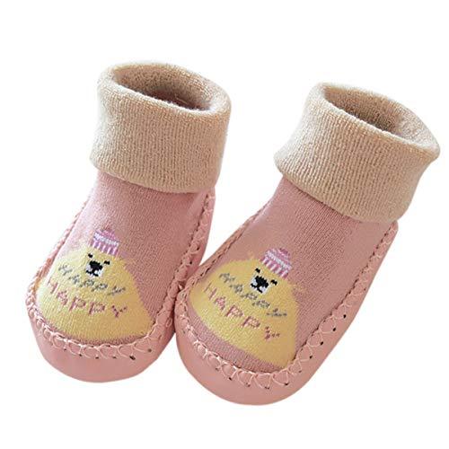 natuce calzini antiscivolo bambino 6-24 mesi, inverno morbido calze a pantofola da bimbi, scarpe primi passi bimbo con suola antiscivolo(bambine e ragazze)