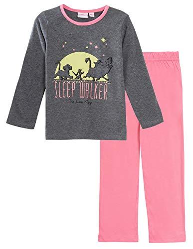 disney - pigiama per bambine, motivo: il re leone sleep walker - passeggino che si illumina al buio, colore: grigio 8 anni