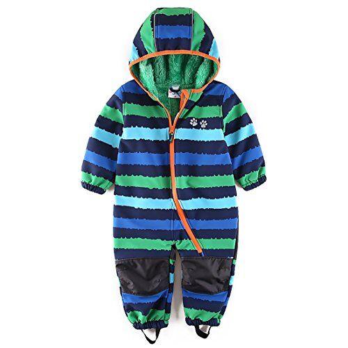 umkaumka tuta overall bambino impermeabile con cappuccio - tuta da neve antipioggia integrale con interno in pile 12-18 mesi (86)