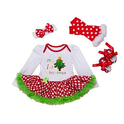 YuanDiann YuanDian Beb Bambina 4pcs Natale Costume Completini Set Partito Vestiti Neonato Battesimo Babbo Natale Abbigliamento Natalizio Tutina Abiti + Fascia + Leggings Caldo + Scarpa 2# Albero A 0-3 Mesi