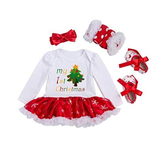 YuanDiann YuanDian Beb Bambina 4pcs Natale Costume Completini Set Partito Vestiti Neonato Battesimo Babbo Natale Abbigliamento Natalizio Tutina Abiti + Fascia + Leggings Caldo + Scarpa 1# Albero 0-3 Mesi