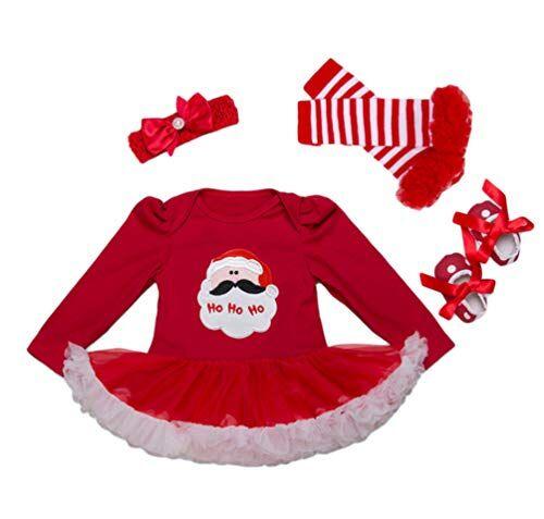 YuanDiann YuanDian Beb Bambina 4pcs Natale Costume Completini Set Partito Vestiti Neonato Battesimo Babbo Natale Abbigliamento Natalizio Tutina Abiti + Fascia + Leggings Caldo + Scarpa 4# Babbo 0-3 Mesi