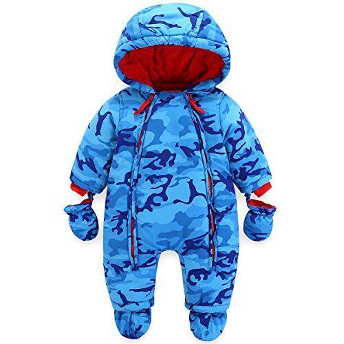 JiAmy Bambino Tute da Neve con Guanti e Scarpe Ragazzi Inverno Pagliaccetto con Cappuccio Caldo Set di Abbigliamento 9-12 Mesi