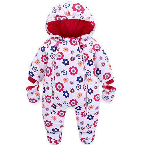 JiAmy Bambino Tute da Neve con Guanti e Scarpe Ragazze Inverno Pagliaccetto con Cappuccio Caldo Set di Abbigliamento 9-12 Mesi