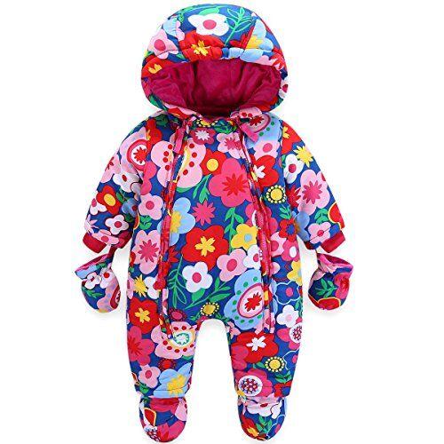 JiAmy Bambino Tute da Neve con Guanti e Scarpe Ragazze Inverno Pagliaccetto con Cappuccio Caldo Set di Abbigliamento 3-6 Mesi