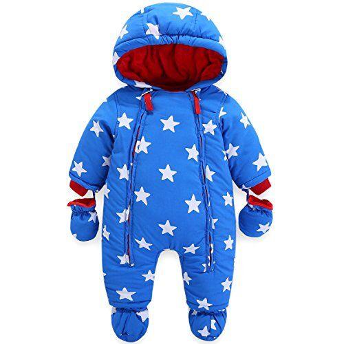 JiAmy Bambino Tute da Neve con Guanti e Scarpe Ragazzi Inverno Pagliaccetto con Cappuccio Caldo Set di Abbigliamento 12-18 Mesi
