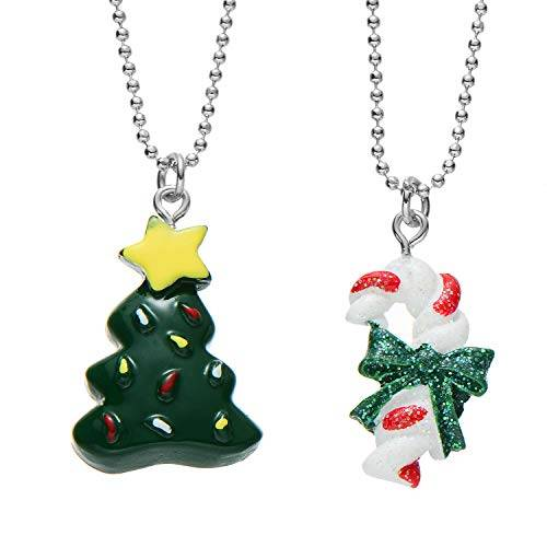 fsmiling collana con pendente bff best friends per 2 ragazze(stampella e albero di natale)