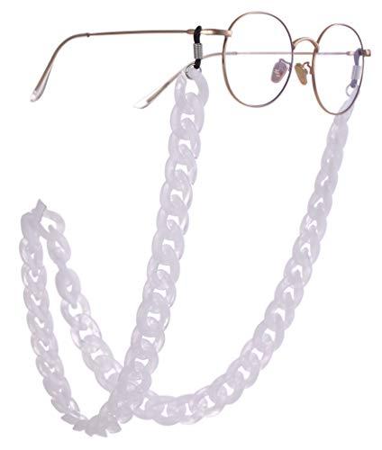 Likgreat Favolo Supporto per occhiali da sole da lettura, di grandi dimensioni, colorato e personalizzabile, per donne, lunga collana, accessorio alla moda e Lega, colore: bianco, nero argento.