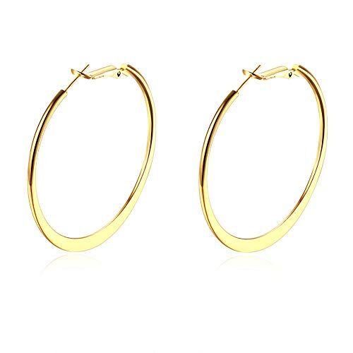 BethCAI Donna orecchini ad anello, moda gioielli orecchini a cerchio, placcatura oro bianco K lucido rotonda grande orecchino top click chiusura Circle orecchini