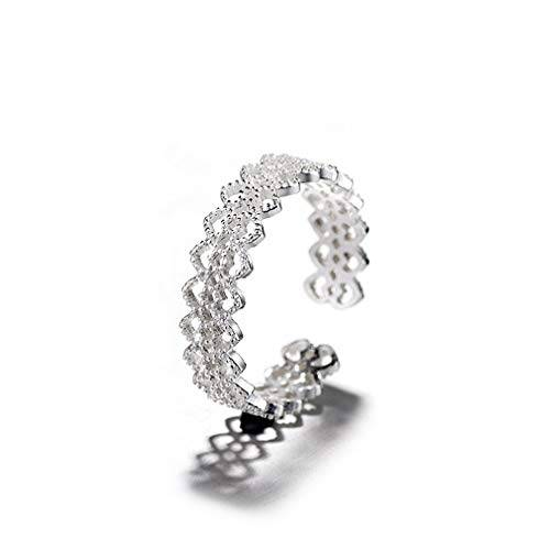 Chereda Argento Regolabile Hollow Lace Aperto Anelli per Le Donne Moda Accessori Largo Finger Ring Femme Bijoux