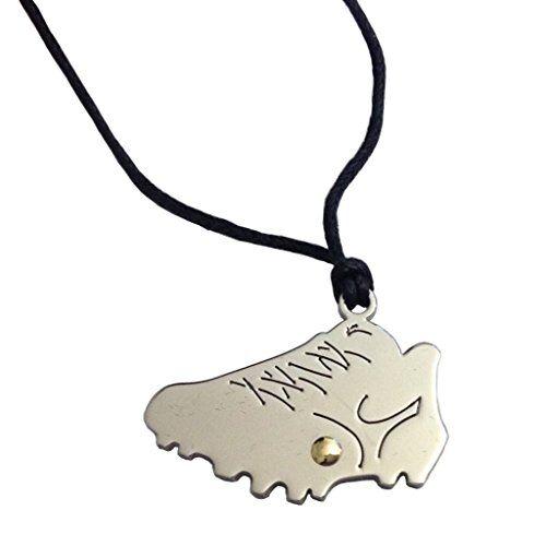 gogo ciondolo scarpa da calcio in acciaio con punto in oro e laccio in corda