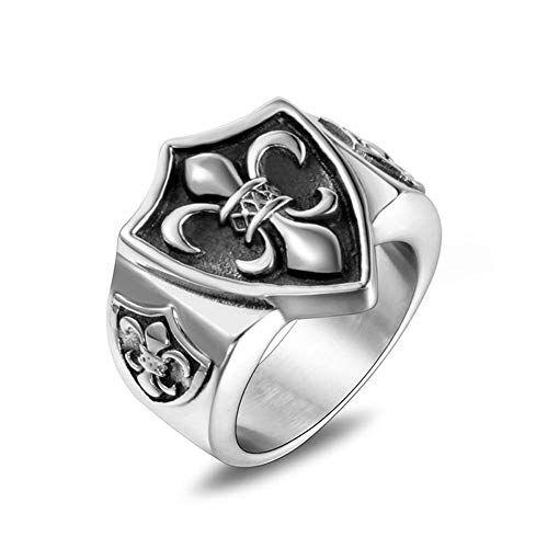 Aruie - Anello stile cavaliere, da uomo, in acciaio inossidabile, motivo: fiore di giglio in rilievo, stile vintage e Acciaio inossidabile, 17, cod. MEJ1231