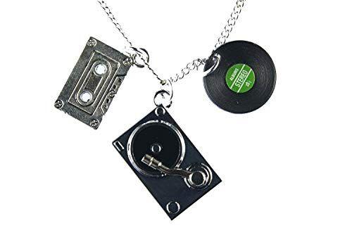 miniblings dj musicisti collana nastro musica giradischi lp - fatto a mano gioielli i pendente lunghezza: cassette set di 3