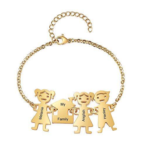 grand made bracciale in oro personalizzato per famiglie 2-5 nomi incisi gratis bracciale per bambina ragazzo bff braccialetto per bambola a catena regalo di natale per la mia famiglia (3 names)