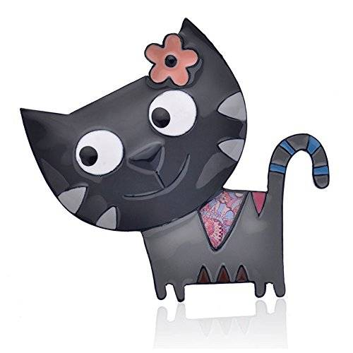Ruilong lega di zinco Cat borsetta spille moda gioielli cute Animal smalto Brooches pins Dress accessori per donne ragazze regalo e lega di zinco, colore: Grey, cod. RLBR
