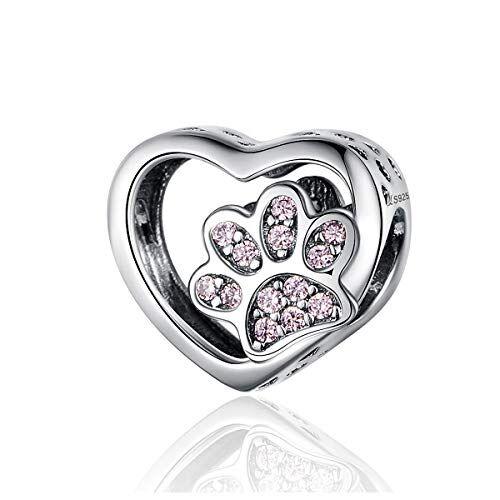 GDDX Ciondolo a forma di zampa, di girasole, di scarpa, di angelo, in argento Sterling, adatto per braccialetti e collane Pandora, per donne e ragazze e 925, colore: bianco, cod. GDDX005