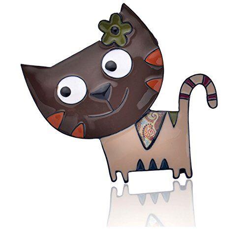 Ruilong lega di zinco Cat borsetta spille moda gioielli cute Animal smalto Brooches pins Dress accessori per donne ragazze regalo e lega di zinco, colore: Brown, cod. RLBR