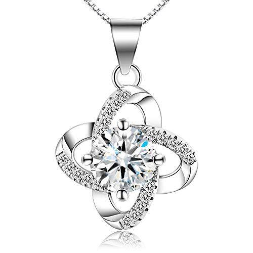 HVDHYY S925 Collana di Moda in Argento Squisito Diamante Artificiale Zircone Collana di Cristallo Gioielli Eleganti Ragazze Femminili Accessori Gioielli Argento (Fiori di Primavera)