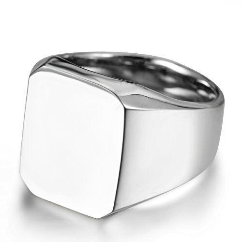 JewelryWe Gioielli Anello da Uomo Donna, Acciaio Inossidabile,Anelli Tono Argento Lucido Sigillo,Colore Argento Misura 30
