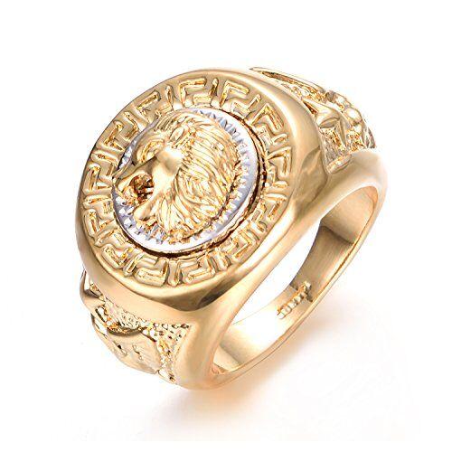 Yoursfs Anello a forma di testa di leone, in oro giallo placcato e acciaio inossidabile, da uomo, idea regalo per san Valentino, anniversario e Fede, 20, cod. R933Y1-9FR