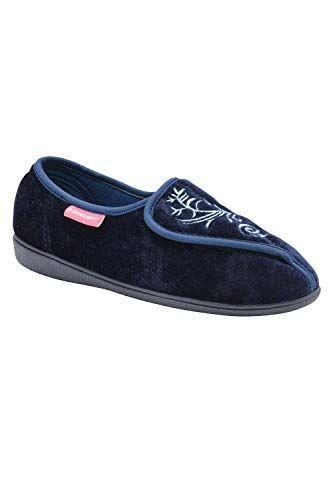 dunlop bluebell, pantofole da donna, lavabili in lavatrice, con chiusura a strappo, blu (blu navy), 38 eu