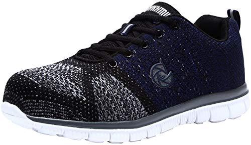 larnmern scarpe da lavoro da donna,lm-9005 scarpe antinfortunistiche ultraleggeri riflettenti traspiranti,scarpe punta in acciaio(42 eu,freddo blu)