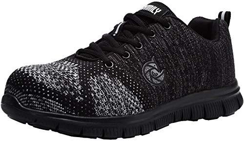 larnmern scarpe da lavoro da donna,lm-9005 scarpe antinfortunistiche ultraleggeri riflettenti traspiranti,scarpe punta in acciaio(37 eu,freddo nero)