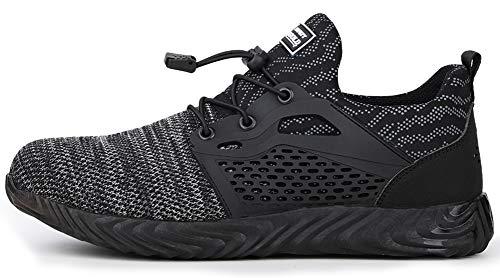 tqgold scarpe da lavoro con punta in acciaio uomo donna scarpe antinfortunistiche leggere sportive traspiranti sneaker da lavoro(grigio,taglia 42eu)