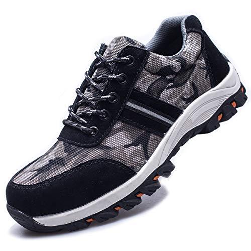 suadeex uomo donna scarpe da lavoro antinfortunistiche con punta in acciaio s1 unisex-adulto scarpe sportive di sicurezza sneaker stile,07-nero,48 eu