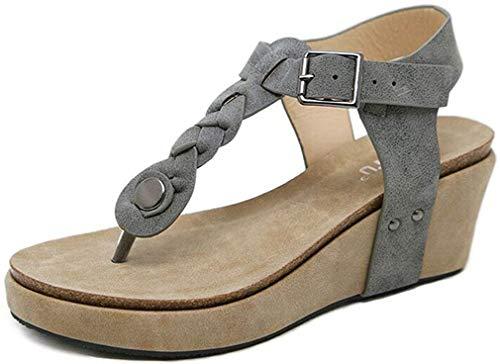 Hishoes Sandali Donna con Zeppa Moda Espadrillas Eleganti Estivi Primavera 2019 Tacco Basso Peep Toe Scarpe Spiaggia Casuale Romani Piattaforma Sandals Scarpe Donna EU38/Etichetta39